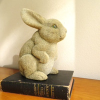Vintage Flocked Rabbit Figurine, Furry Bunny, Woodland Animal, Collectible Figure