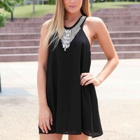 Black Embellished Neckline Racer Back Dress