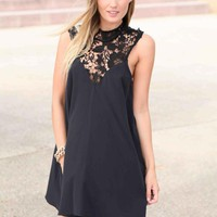 Black High Lace Neck Tunic Dress