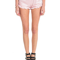 Velvet Ruffle Trim Shorts - Light Pink