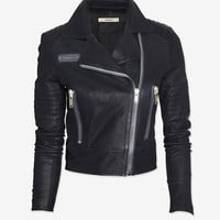 J Brand Ready-to-Wear Chiaki Leather Biker Jacket: Navy | Shop IntermixOnline.com