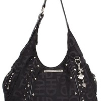 Harley-Davidson Women's Jacquard Hobo Bag/Purse, Black. HD3426J-BLK