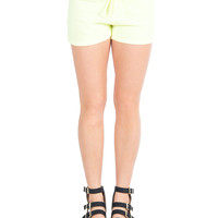 Neon Drawstring Terry Shorts - Neon Yellow