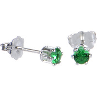Sterling Silver 3mm Green (May) Cubic Zirconia Stud Earrings | Body Candy Body Jewelry