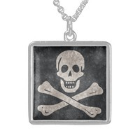 Pirate Skull and Crossbones Flag Silver Necklace
