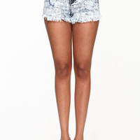 FRINGE ACID WASH SHORTS