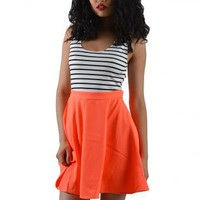 Orange Striped Cross-Back Skater Dress