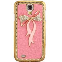 WwWSuppliers Fancy Bling 3D Pink Leather Pink Bow Case for Samsung Galaxy S4 i9500 M919 i545 i337 Bling Cover + Screen Protector