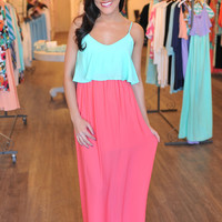 Ruffle Top Maxi- Mint/Pink