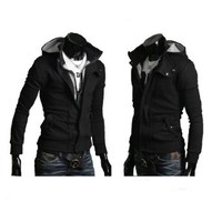 Mens Casual Buckle Top Designed Jacket Hoodie Slim Fit Fashion Sweatshirt