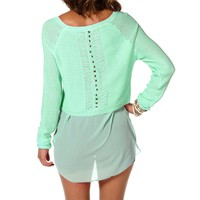 Mint Jewel Back Sweater