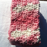 Crochet pink and white womens scarf