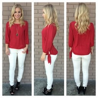 Burgundy Side Tie 3/4 Sleeve Blouse