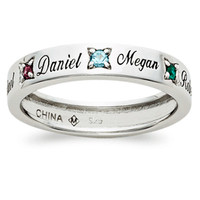 Sterling Silver Name & Crystal Birthstone Band