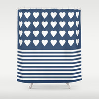 Heart Stripes Navy Shower Curtain by Project M