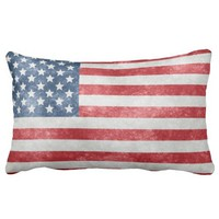 Grunge American USA Flag Grade A Cotton Throw Pillow
