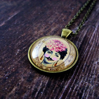 Mustache Girl Necklace: Gifts for Her. Art Pendant. Hipster. Retro. Handmade Jewelry. Lizabettas