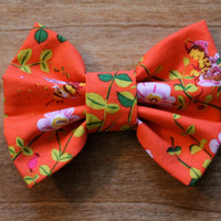 Coral Orange Floral and Bee Fabric Big Hair Bow