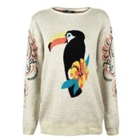 ZLYC Women's Cartoon Parrot Jungle Print Pullover Jumper
