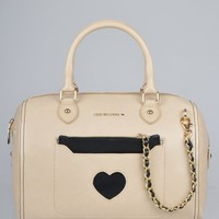 Moschino Medium Fabric Heart Bag - Beige
