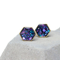 Hexagon earring posts with galaxy glitter on dark background - brass framed cosmic space geometric honeycomb studs - hypoallergenic posts