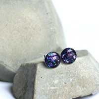 Stud earrings with nebula galaxy color glitter on black background - Galaxy Nebula post earrings - glitter studs, cosmic space jewelry