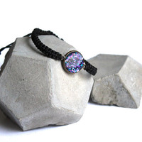 Nebula bracelet with sparkling glitter in galaxy color theme - cosmic macrame bracelet - space jewelry stacking bracelet