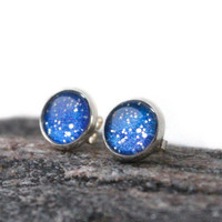 Stud earrings starry night sky glitter earrings ear posts studs - silverplated - 12mm - nail polish jewelry style - nacht ohrringe