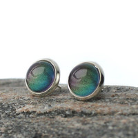 Stud earrings with Aurora Borealis color shift 12mm silver frame iridescent earing studs