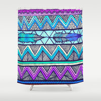 Two Feathers (color version 3) Shower Curtain by Lisa Argyropoulos