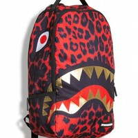 Sprayground Red Leopard Gold Shark Deluxe Backpack Bag