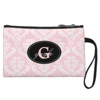 Pink Damask Monogram Wristlet Bag