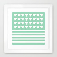 Heart Stripes Mint Framed Art Print by Project M