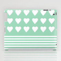 Heart Stripes Mint iPad Case by Project M