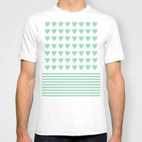 Heart Stripes Mint T-shirt by Project M