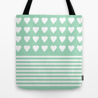Heart Stripes Mint Tote Bag by Project M