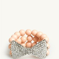 Pave Bow Beaded Bracelet