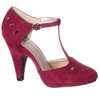 Burgundy Bombshell Retro T-Strap Pumps