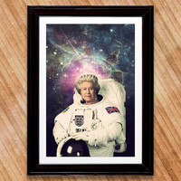 Queen Elizabeth II Astronaut Poster, A Royal Space Print