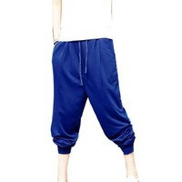 Allegra K Men Drawstring Waist Slant Pockets Baggy Harem Pants Blue W31