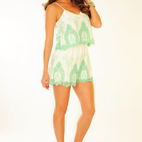 Easy Living Romper: White/Mint | Hope's