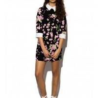 Floral Contrast Collar Skater Dress