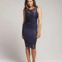 Blue Heart Neck Lace Bodycon Dress