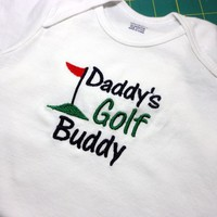 Toddler Onesuit Daddys Golf Buddy Embroidered 24 Month Other Colors | PinkCloudsAndBabyBlue - Children