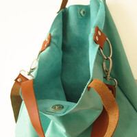 Large Leather Tote bag, Crossbody bag, Shoulder bag, Genuine Leather Aqua Mint Blue Caramel brown