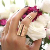 Rose Gold Tube Ring - wide band ring adjustable tube finger ring Rose Gold Plated