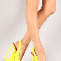 Dolce-2 Neon Slingback Cut Out Platform Wedge