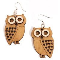 Little Hoot Owl Earrings by Green Tree Jewelry (Tan)