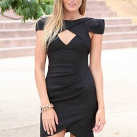Black Cutout Neckline Cocktail Dress