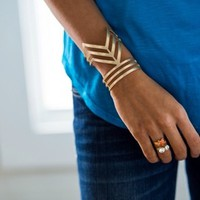 Gold Metal Chevron Cuff - Modern Vintage Boutique